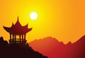 Vector silhouette of a chinese pavilion
