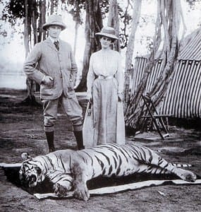 Lord Curzon and his wife Mary Curzon with the tiger they poached.