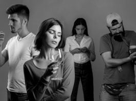 A portrait representing different types of addictions.