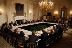 WASHINGTON, DC - JANUARY 17: (AFP OUT) U.S. President Barack Obama meets with his Council on Jobs and Competitiveness, group of business leaders tapped to come up with job-spurring ideas, in the State Dining Room at the White House January 17, 2012 in Washington, DC. Headed by General Electric CEO Jeffrey Imelt, the council released a report with suggestions, including investment in education and research and development, support for the manufacturing sector and reform in the tax and regulatory systems. (Photo by Chip Somodevilla/Getty Images)