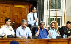Defence Minister Manohar Parrikar announces 'ONE RANK ONE PENSION' scheme at a press conference.