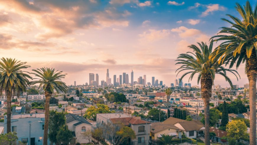 Sunset view of Los Angeles, California