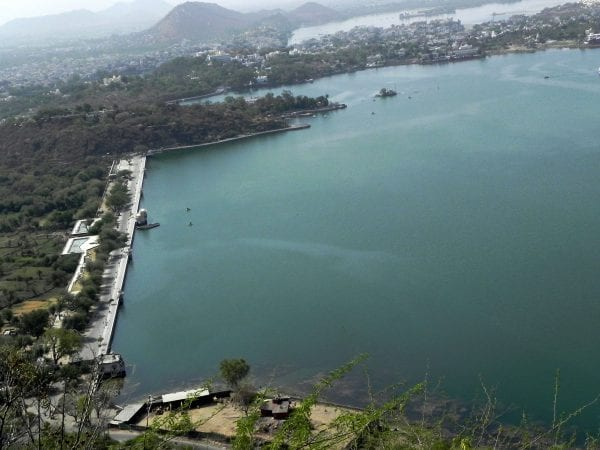 An aerial view of Lake Fateh Sagar