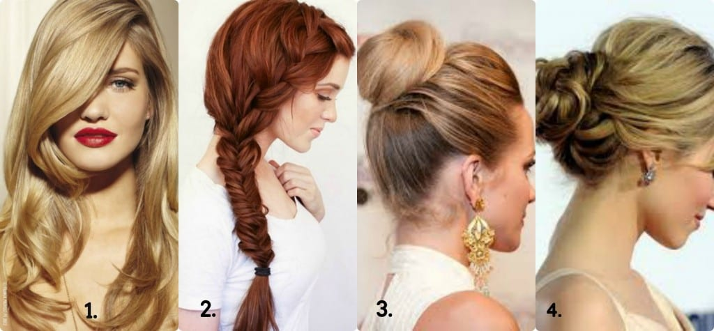 1. Simple blow dry will match any outfit. 2. Fishtail braid. (Never out of fashion) 3. Most comfortable- bun. (Formal occasions) 4. Fancy bun for a party. (Doesn't suit ethnic wear) Look for DO IT YOURSELF videos and tutorials to learn to style your hair.