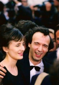 Roberto Benigni and Nicoletta Braschi as Guido and Dora