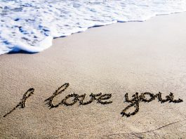 I love you written on the beach