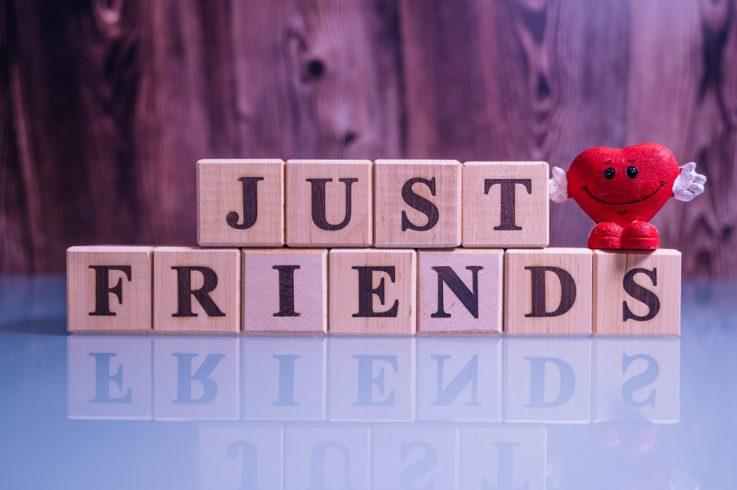 Just friends in wooden blocks