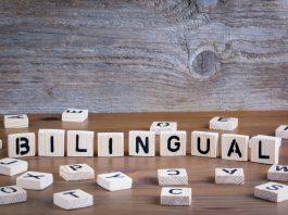 Billingual written with wooden blocks