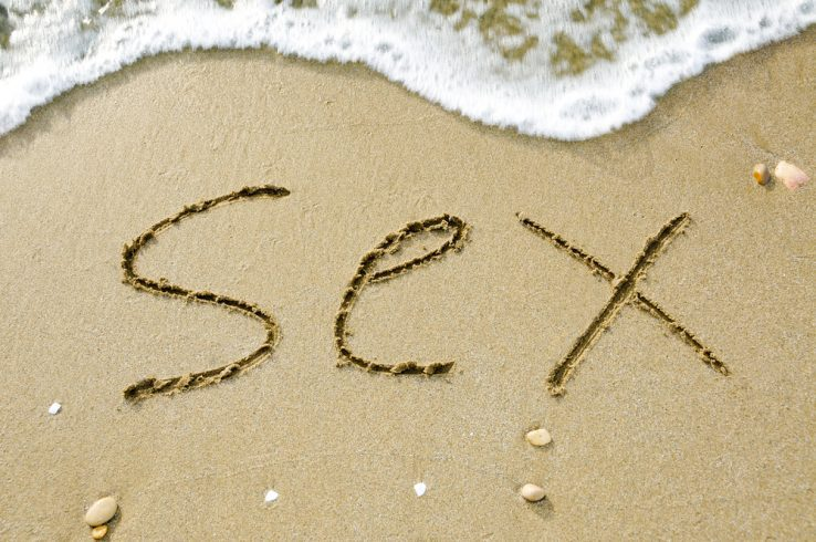 Sex written on the beach