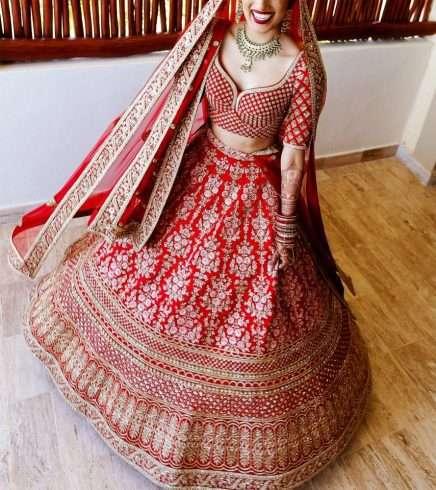 Bride wearing lehnga