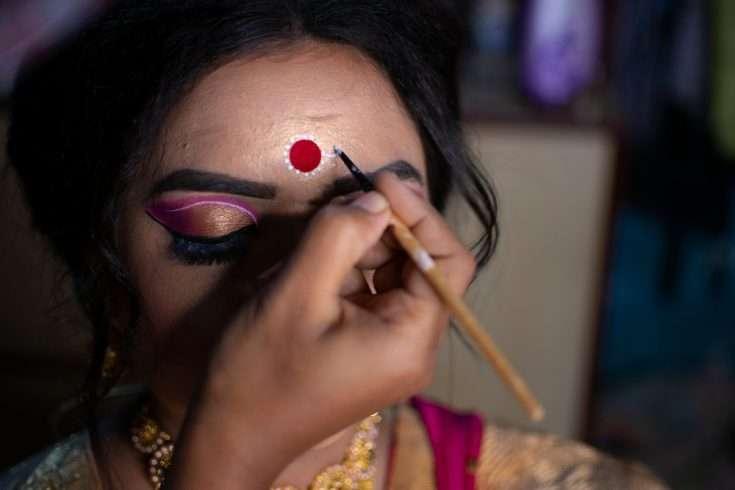 An Indian woman wearing bindi
