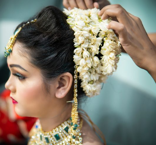 Indian woman wearing gajra