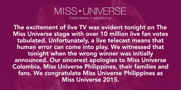 Embarrassing Moment on Miss Universe 2015 Final 4