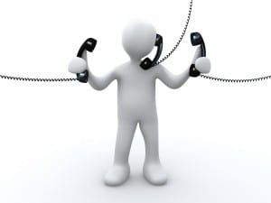 Royalty-free 3d computer generated communications clipart picture of a busy white person holding and talking on three corded telephones.