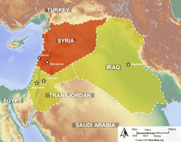 British and French Mandates in the Middle East in 1925. Transjordan, Palestine and Mesopotamia (Iraq) belonged to Britain while Syria belonged to France.