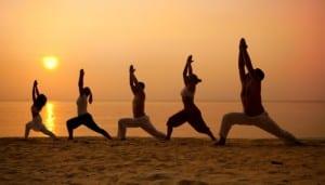 Yoga Class on a Beach