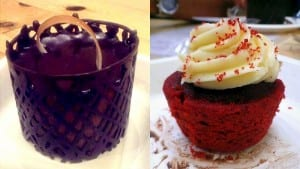 Left: Chocolate mousse (Credits: Arusha Vaidya) Right: Red Velvet Cupcake