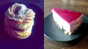 Left: Paris Brest (Credits: Sahil Purswani) Right: Berry Cheesecake
