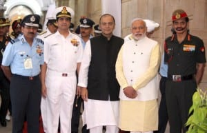 The Prime Minister, Shri Narendra Modi posing for a group photo with the Union Minister for Finance, Corporate Affairs and Defence, Shri Arun Jaitley and the three Service Chiefs, Air Chief Marshal Arup Raha, Admiral R.K. Dhowan and General Dalbir Singh, during Combined Commanders' Conference, in New Delhi on October 17, 2014.