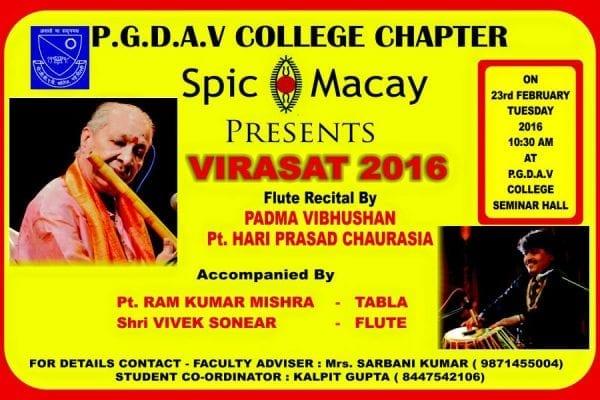 PGDAV College Presents Spic Macay – Virasat 2016