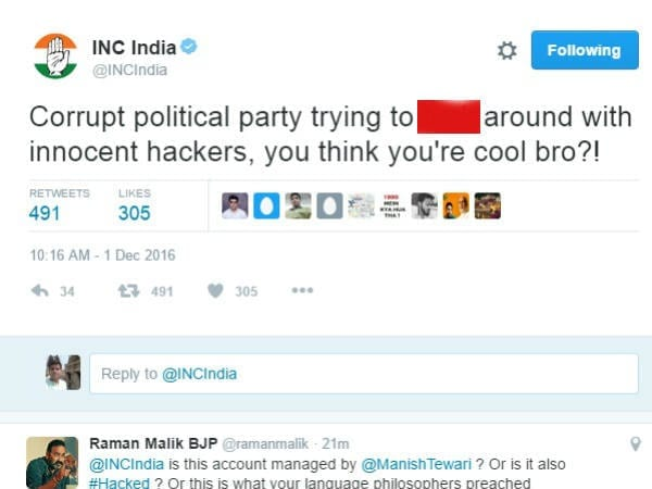 Image result for indian national congress twitter hack