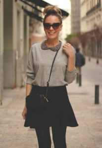 Classic-black-skirt-outfit-idea-for-spring-2014-grey-sweater-shirt-and-skirt wardrobe