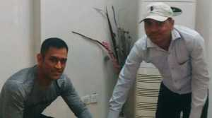 Ms Dhoni giving his finger prints