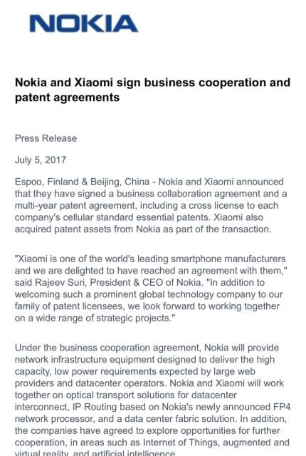 Nokia Xiaomi In Talks For Collaboration Icy Tales