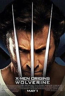 """A man with grizzly hair wearing a tank top shirt, with three metal claws in front of his face. Below his chin is the title """"X-Men Origins Wolverine"""", the film credits and the release date, May 1."""