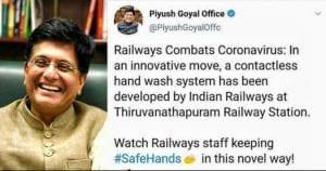 Thirunananthapuram Rail Staff Innovates No-contact Hand-wash System 3
