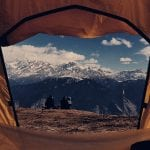through the tent into the mountains