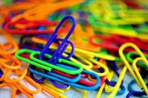 Different colours of paperclips