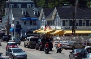 Market and local shop stops near Winnipesaukee, Street view.