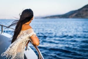 A girl shooting her beautiful photographs on a cruise of whale watching, Cape Cod