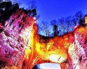 Drama of Creation, the light and sound show of Natural Bridge State Park, VA