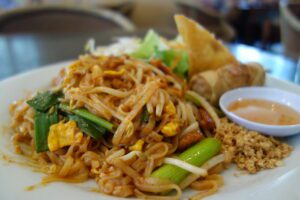 Pad Thai with fried egg roll and fried rice