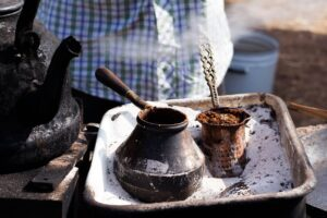 Turkish coffee is traditionally made in hot sand