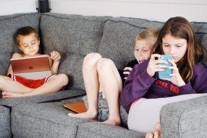 Children using smart phones