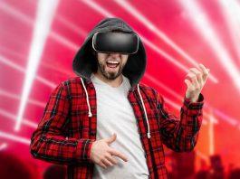 Man enjoying with VR glasses