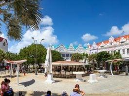 Oranjestad, Aruba January 19 2021: Tourists shopping in the cruise ship port of Oranjestad Aruba